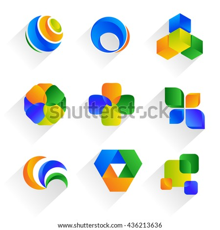 Colorful symbols. Set of logos. Different figures.