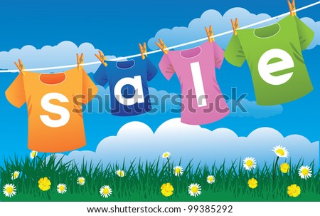 Colorful T Shirts on a Line EPS 8 vector, grouped for easy editing.