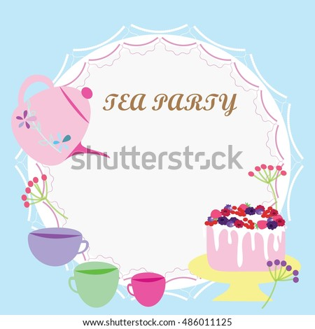 Colorful tea party invitation vector card stock vector hd royalty colorful tea party invitation vector card stopboris Images