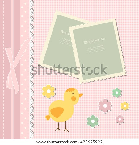 Colorful template for adult, kid, child girl photo album. Vector illustration.