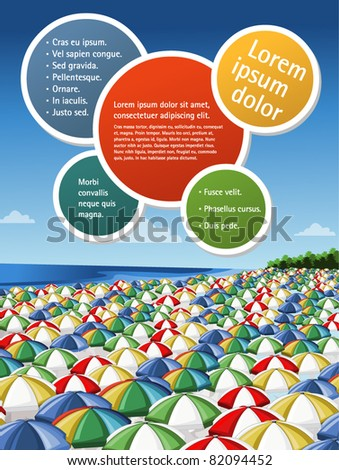 Colorful template for advertising brochure of a beach with umbrellas - stock vector