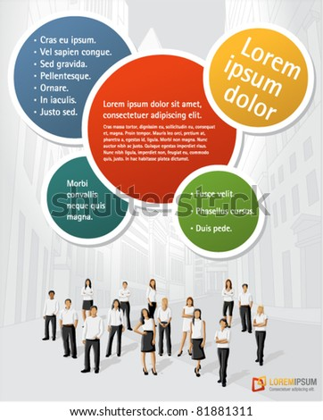 Colorful template for advertising brochure with business people on the city