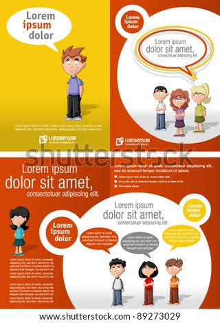 Colorful template for advertising brochure with children - stock vector