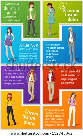 Colorful template for advertising brochure with fashion cartoon young people. Teenagers. - stock vector