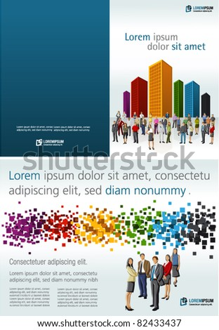 Colorful template for advertising brochure with people in a colorful city - stock vector