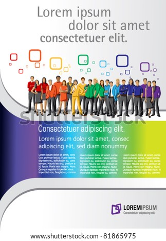 Colorful template for advertising brochure with rainbow colors people - stock vector