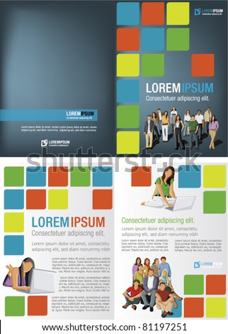 Colorful template for advertising brochure with students - stock vector
