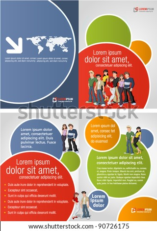 Colorful template for advertising brochure with teen students - stock vector
