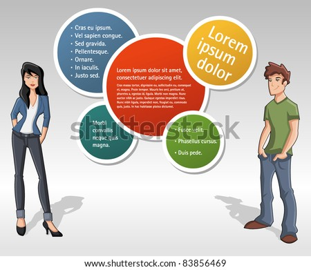 Colorful template for advertising brochure with teenage people - stock vector