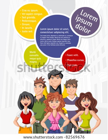 Colorful template for advertising brochure with teenage people on the city - stock vector
