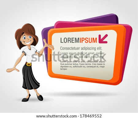 Colorful template with happy cartoon woman and billboard. Presentation screen. - stock vector