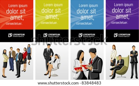 Colorful templates for advertising brochure with business people - stock vector