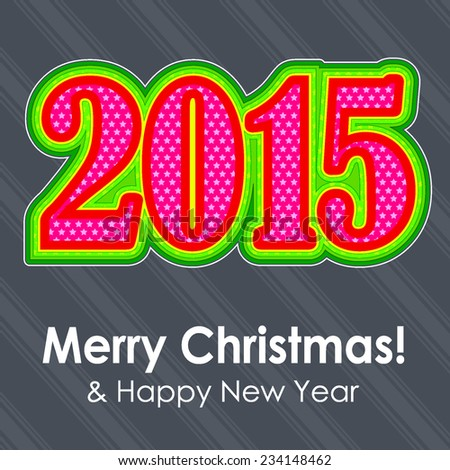 Colorful 2015 text. Christmas and New year.