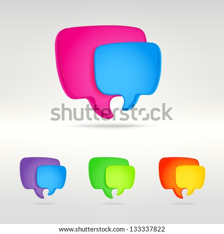 Colorful text speech bubbles as eps10 vector icon emblem of talking or having conversation, communication illustration clip-art - stock vector