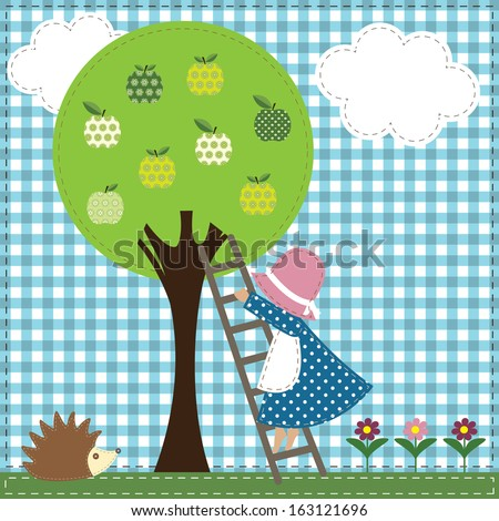 Colorful textile applique with apple tree, little girl and hedgehog. Can be used for patchwork quilt, scrapbook, babies room design.  - stock vector