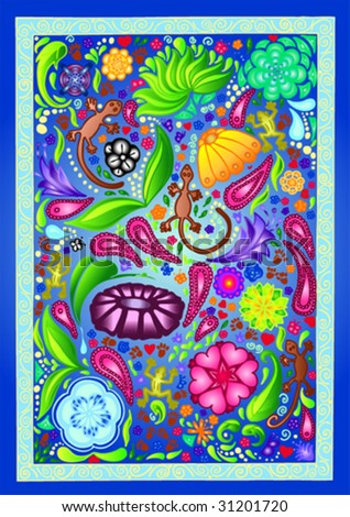 colorful texture with lovely ornaments - stock vector