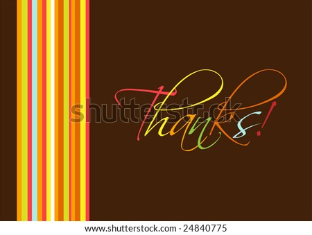 """Colorful """"Thanks"""" greeting card. - stock vector"""