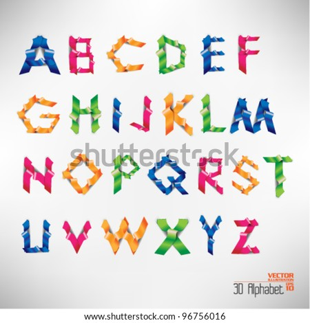colorful three dimension alphabet set - stock vector