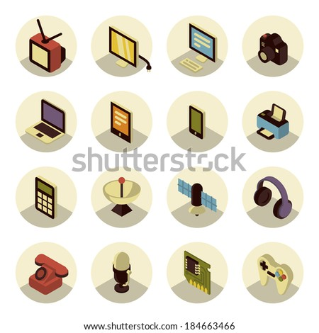 Colorful three dimensional icons of electronic multimedia and telecommunication devices - stock vector