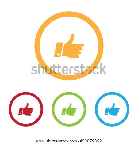 Colorful Thumbs Up Icons With Rings - stock vector