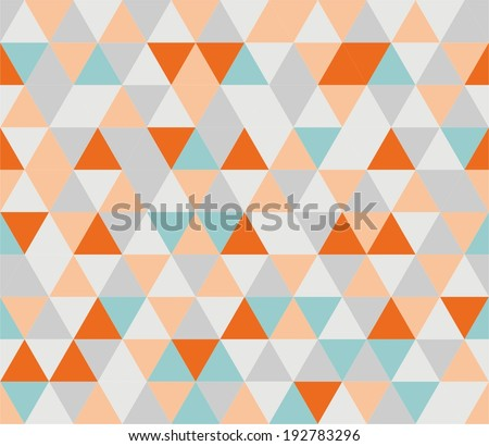 Colorful tile background illustration. Grey, orange, pink and mint green triangle geometric mosaic card or seamless pattern wallpaper - stock vector