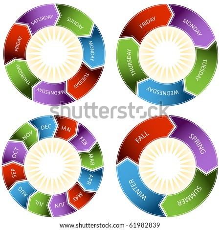 Colorful Time Wheel - stock vector