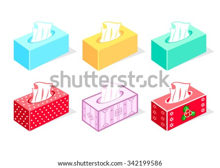 Colorful tissue boxes for health care and gift - stock vector
