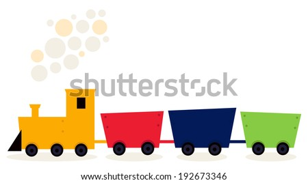 Colorful Train in fresh colors isolated on white  - stock vector