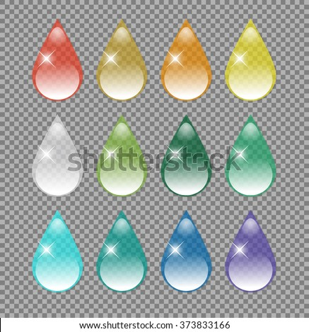Colorful transparent water drops. Rainbow drops vector set. - stock vector