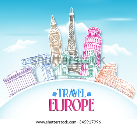 Colorful Travel Europe Hand Drawing in paper Cut with Famous Landmarks and Places in Blue Background. Vector Illustration  - stock vector