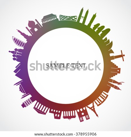 colorful travel theme background / world famous places / vector illustration - stock vector