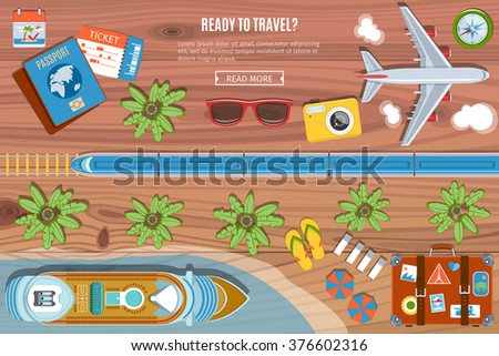 Colorful Travel Vector Banner. Desktop With  Camera, Plane, Passport, Sea Liner,  Bus  And suitcase Icons. Top View. Flat Lay Style - stock vector