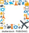 colorful traveling and transportation icons - stock vector
