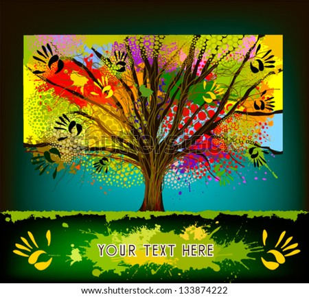 Colorful tree collaboration - stock vector