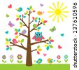 Colorful tree with cute owl and birds - stock vector