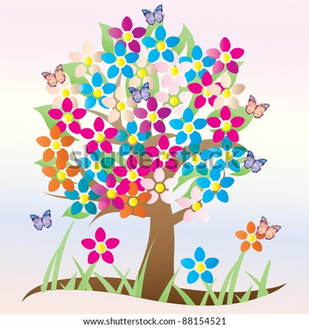 colorful tree with flowers and butterflies