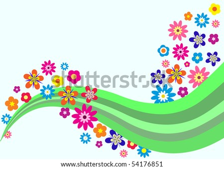 colorful trendy background with beautiful flowers, vector illustration - stock vector