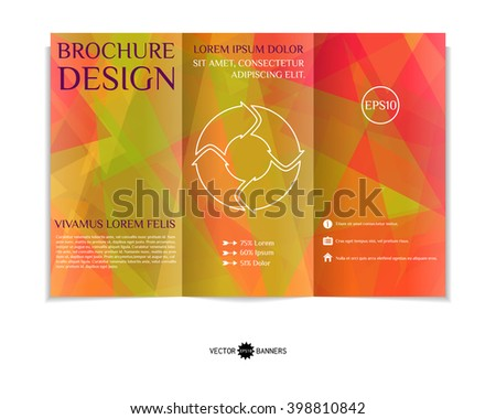 Colorful tri-fold brochure design template with modern random geometric background. Three-fold leaflet with random lines and triangles background. Creative abstract EPS10 vector cover concept.