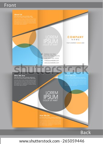 Colorful Tri Fold flyer, template or brochure design with place folder, Including front and back side presentation. - stock vector