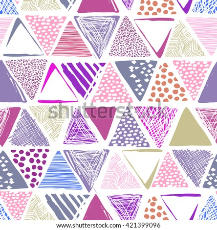 colorful triangle print ~ seamless background - stock vector