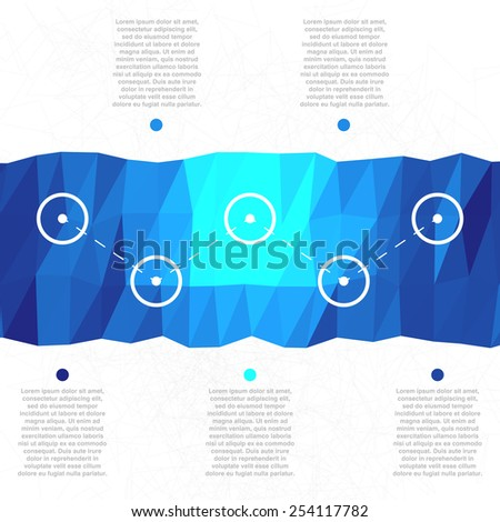 Colorful triangulated infographics template with folded horizontal paper ribbon