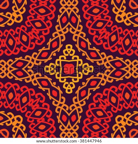 Colorful tribal ethnic seamless pattern. Abstract texture in bright colors. Vector illustration. - stock vector