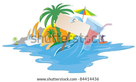 Colorful tropical design with blank space for your text - stock vector