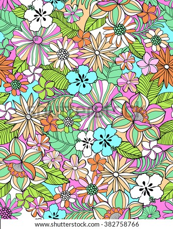 colorful tropical mix flower print ~ seamless background - stock vector
