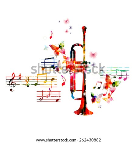 Colorful trumpet design with butterflies  - stock vector