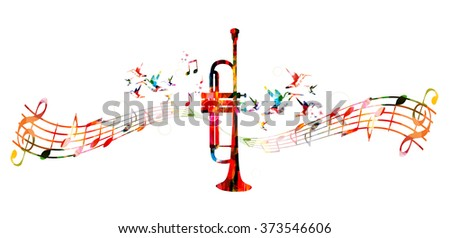 Colorful trumpet design with hummingbirds - stock vector