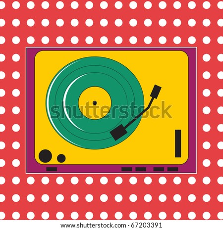 Colorful turntable - stock vector