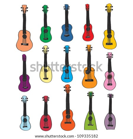 colorful Ukulele sketch - stock vector