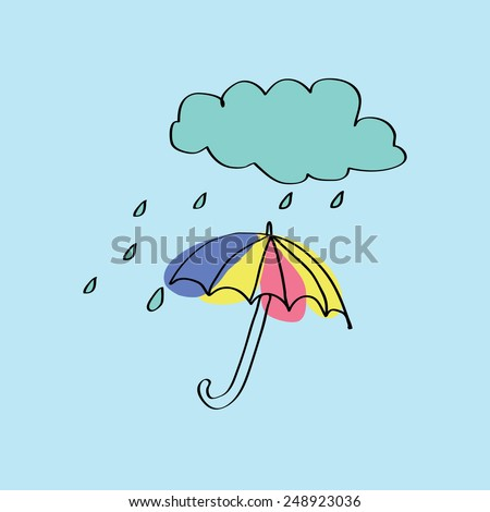 colorful umbrella with rain and cloud