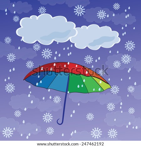 Colorful umbrellas against the backdrop of snow and rain. - stock vector